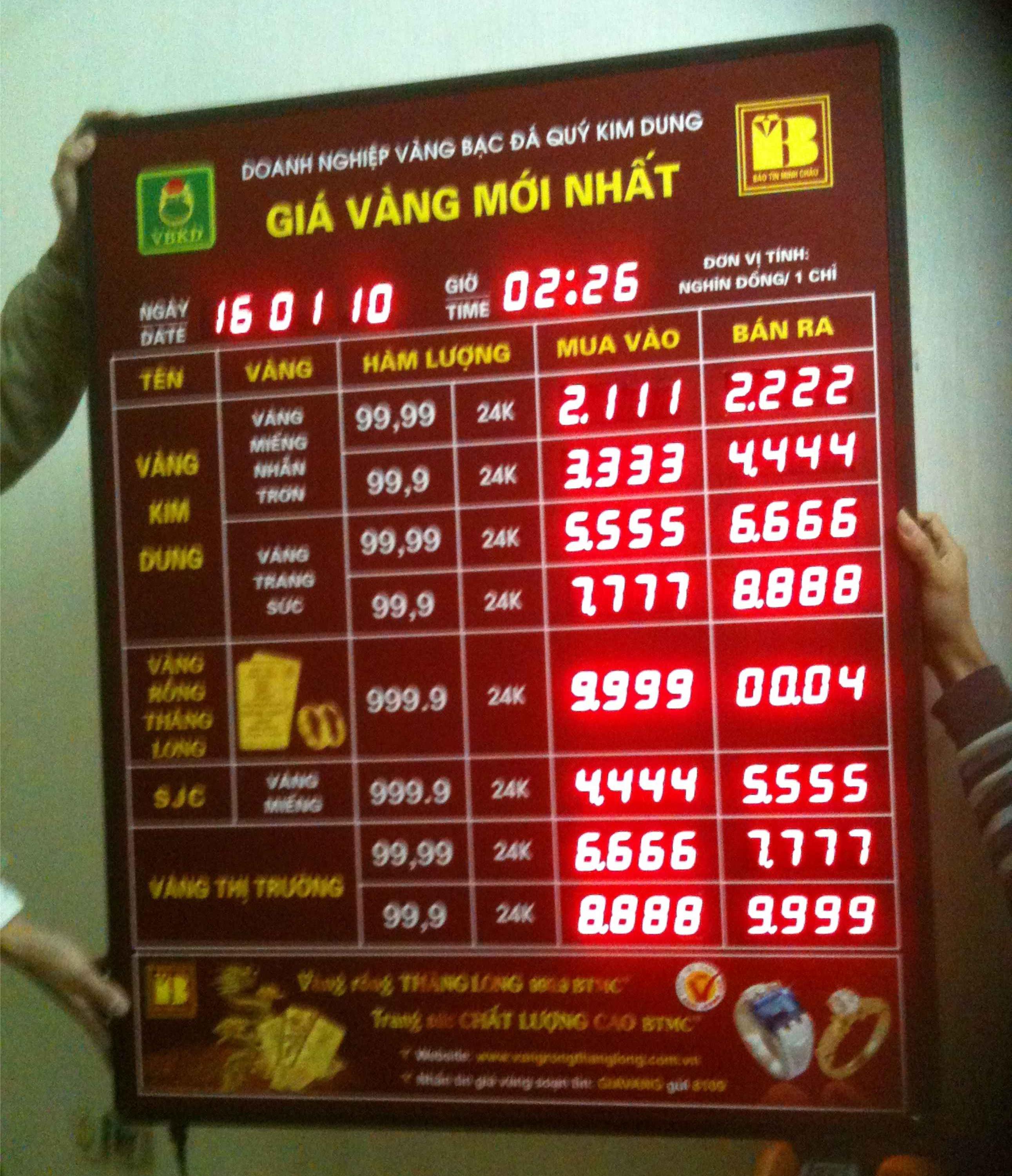 Bảng led điện tử tỷ giá vàng