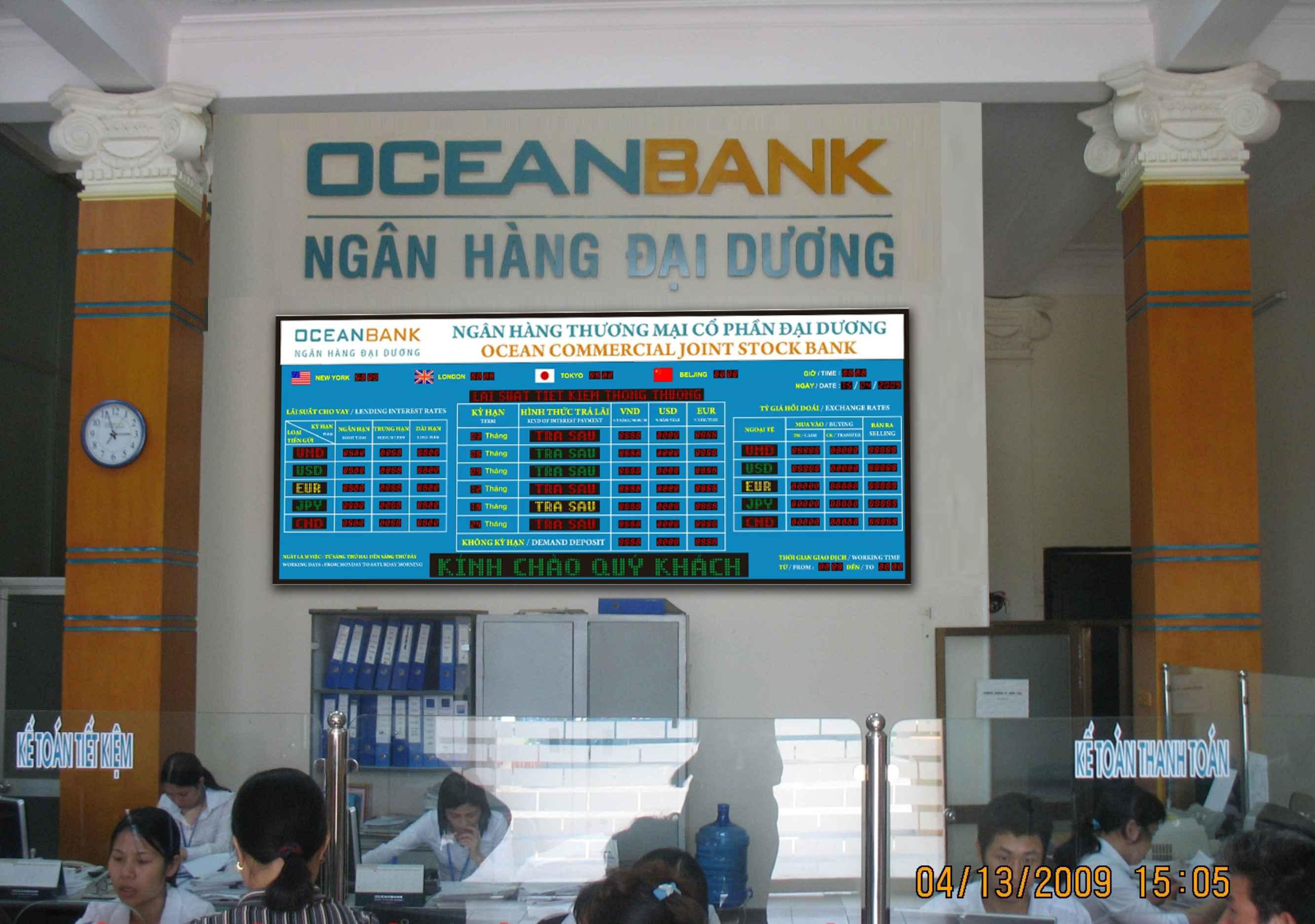 Bảng led điện tử tỷ giá ngân hàng